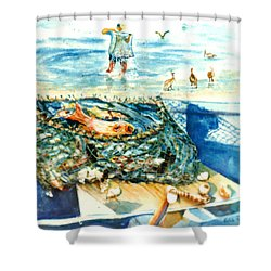 Fisherman And His Assistants Shower Curtain by Estela Robles