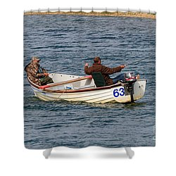 Fishermen In A Boat Shower Curtain by Louise Heusinkveld