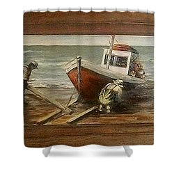 Fishermen S Evening Shower Curtain by Natalia Tejera