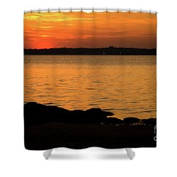 Fishing At Sunset Shower Curtain by Karol Livote