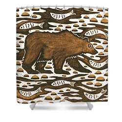 Fishing Bear Shower Curtain by Nat Morley