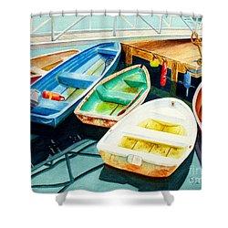 Fishing Boats Shower Curtain by Karen Fleschler