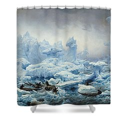 Fishing For Walrus In The Arctic Ocean Shower Curtain by Francois Auguste Biard