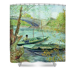 Fishing In The Spring Shower Curtain by Vincent Van Gogh