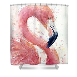 Flamingo - Facing Right Shower Curtain by Olga Shvartsur