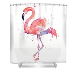 Flamingo Watercolor Shower Curtain by Olga Shvartsur