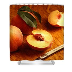 Flavorcrest Peaches Shower Curtain by Photo Researchers