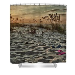 Flipflops On The Beach Shower Curtain by Michael Thomas