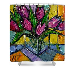 Floral Miniature - Abstract 0615 - Pink Tulips Shower Curtain by Mona Edulesco