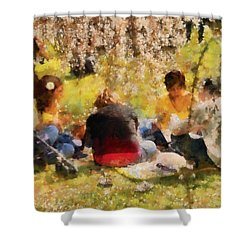 Flower - Sakura - Afternoon Picnic Shower Curtain by Mike Savad