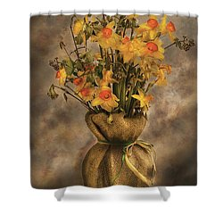 Flower - Daffodils In A Burlap Vase Shower Curtain by Mike Savad