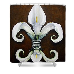 Flower Of New Orleans White Calla Lilly Shower Curtain by Judy Merrell
