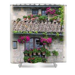 Flower Pots In Windows In Arles Shower Curtain by Carson Ganci