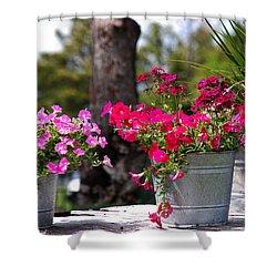 Flower Wagon Shower Curtain by Susanne Van Hulst