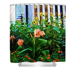 Flowers At The Fountain Of The Plaza Hotel Shower Curtain by Randy Aveille