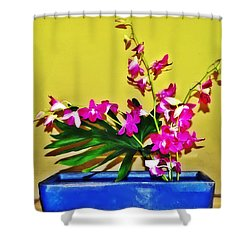 Flowers In A Blue Dish - Japanese House Shower Curtain by Simon Wolter
