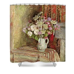 Flowers In A Vase Shower Curtain by Edouard Vuillard