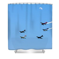 Fly Me To The Moon Shower Curtain by Marco Oliveira