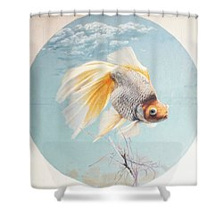 Flying In The Clouds Of Goldfish Shower Curtain by Chen Baoyi