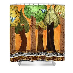 Flying In The Forest Shower Curtain by Graciela Bello