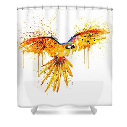 Flying Parrot Watercolor Shower Curtain by Marian Voicu