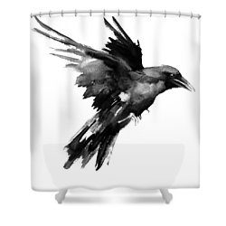 Flying Raven Shower Curtain by Suren Nersisyan