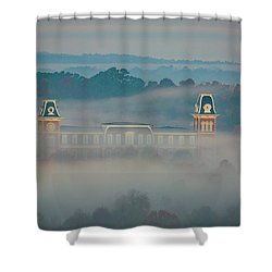 Fog At Old Main Shower Curtain by Damon Shaw
