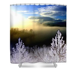 Foggy Winter Sunset Shower Curtain by Will Borden