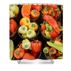 Food - Peppers Shower Curtain by Paul Ward