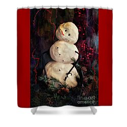 Forest Snowman Shower Curtain by Lois Bryan