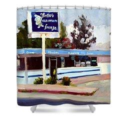 Foster's Freeze Shower Curtain by Deborah Cushman
