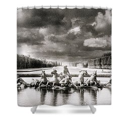 Fountain With Sea Gods At The Palace Of Versailles In Paris Shower Curtain by Simon Marsden