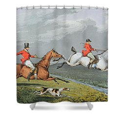 Fox Hunting - Full Cry Shower Curtain by Charles Bentley
