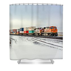 Freight Train Shower Curtain by Todd Klassy