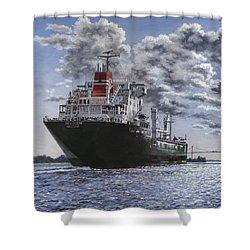 Freighter Inviken Shower Curtain by Richard De Wolfe