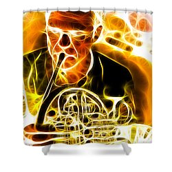 French Horn Shower Curtain by Stephen Younts