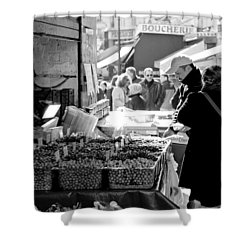 French Street Market Shower Curtain by Sebastian Musial