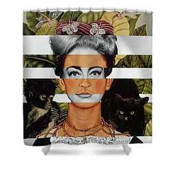 Frida Kahlo And Joan Crawford Shower Curtain by Luigi Tarini