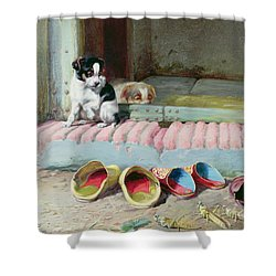 Friend Or Foe Shower Curtain by William Henry Hamilton Trood