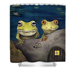 Frogland Detail Shower Curtain by Leah Saulnier The Painting Maniac