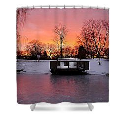 Frozen Sunrise Shower Curtain by Frozen in Time Fine Art Photography