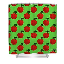 Fruit 02_apple_pattern Shower Curtain by Bobbi Freelance