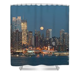 Full Moon Rising Over New York City I Shower Curtain by Clarence Holmes