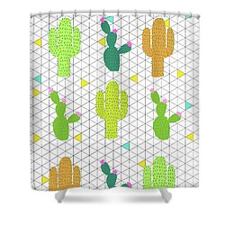 Funky Cactus Shower Curtain by Nicole Wilson