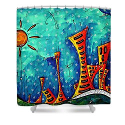 Funky Town Original Madart Painting Shower Curtain by Megan Duncanson