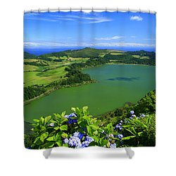 Furnas Lake Shower Curtain by Gaspar Avila