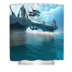 Futuristic Skyway Shower Curtain by Corey Ford