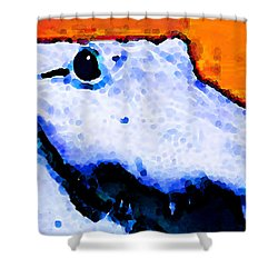 Gator Art - Swampy Shower Curtain by Sharon Cummings