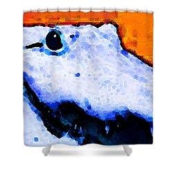 Gator Art - Swampy Shower Curtain by Sharon Cummings