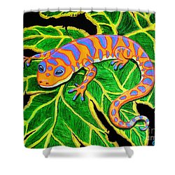 Gecko Hanging On Shower Curtain by Nick Gustafson